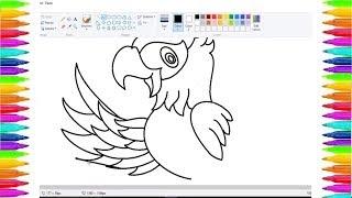 How to Draw a Parrot with Paint Software//Vẽ Con Vẹt// Học vẽ Paint trên máy tính