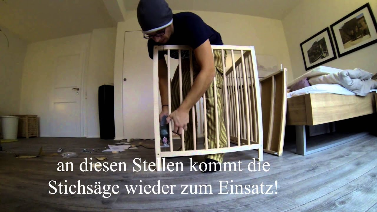 beistellbett selber bauen youtube. Black Bedroom Furniture Sets. Home Design Ideas