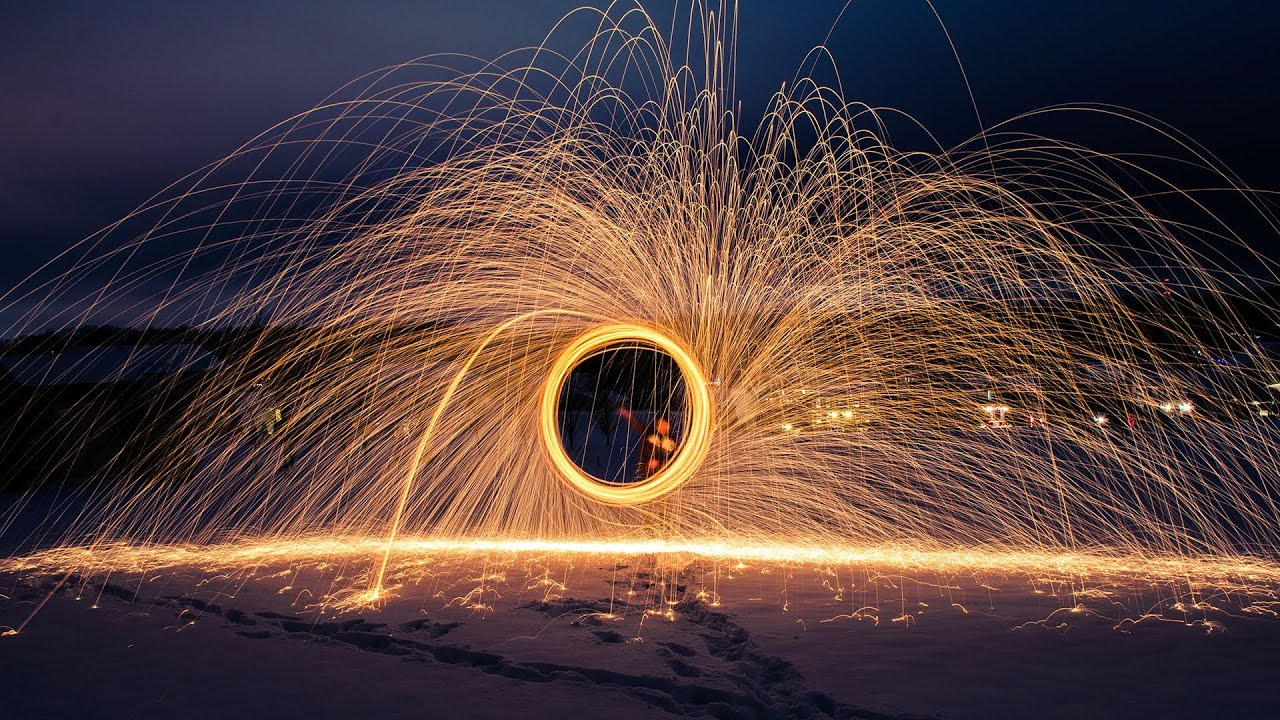 wool steel fire exposure night light painting photoshoot cars lighting easy speed wire work steelwool still circle using catching