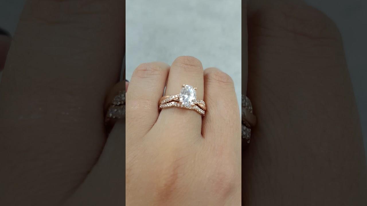 Forever One Moissanite Engagement Ring Oval Moissanite Twisted
