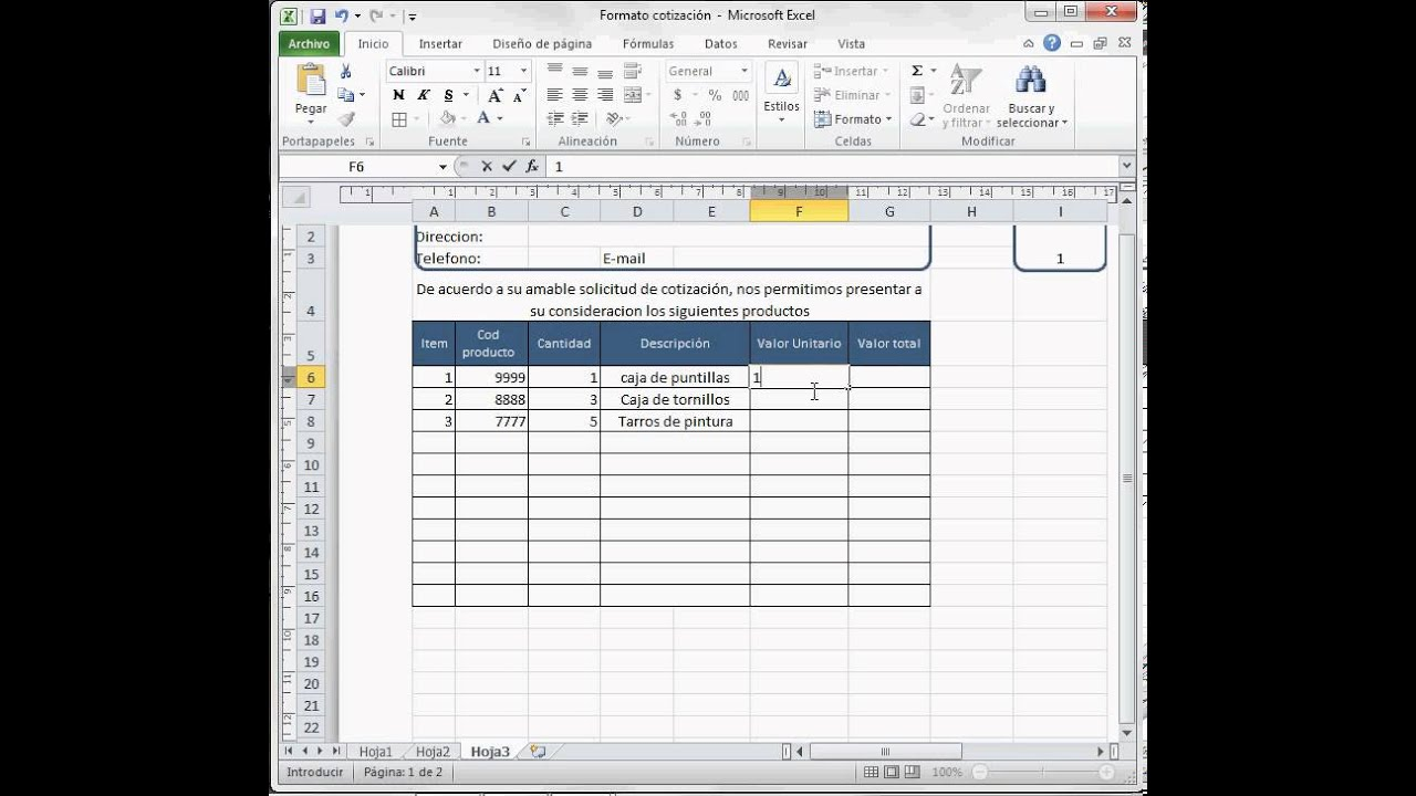 Formato Cotización o factura Excel 2010 - YouTube