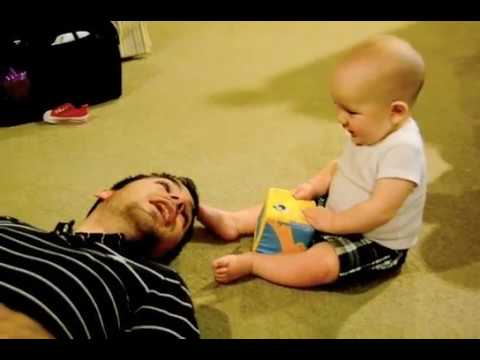 Baby laughing at Daddy sneezing