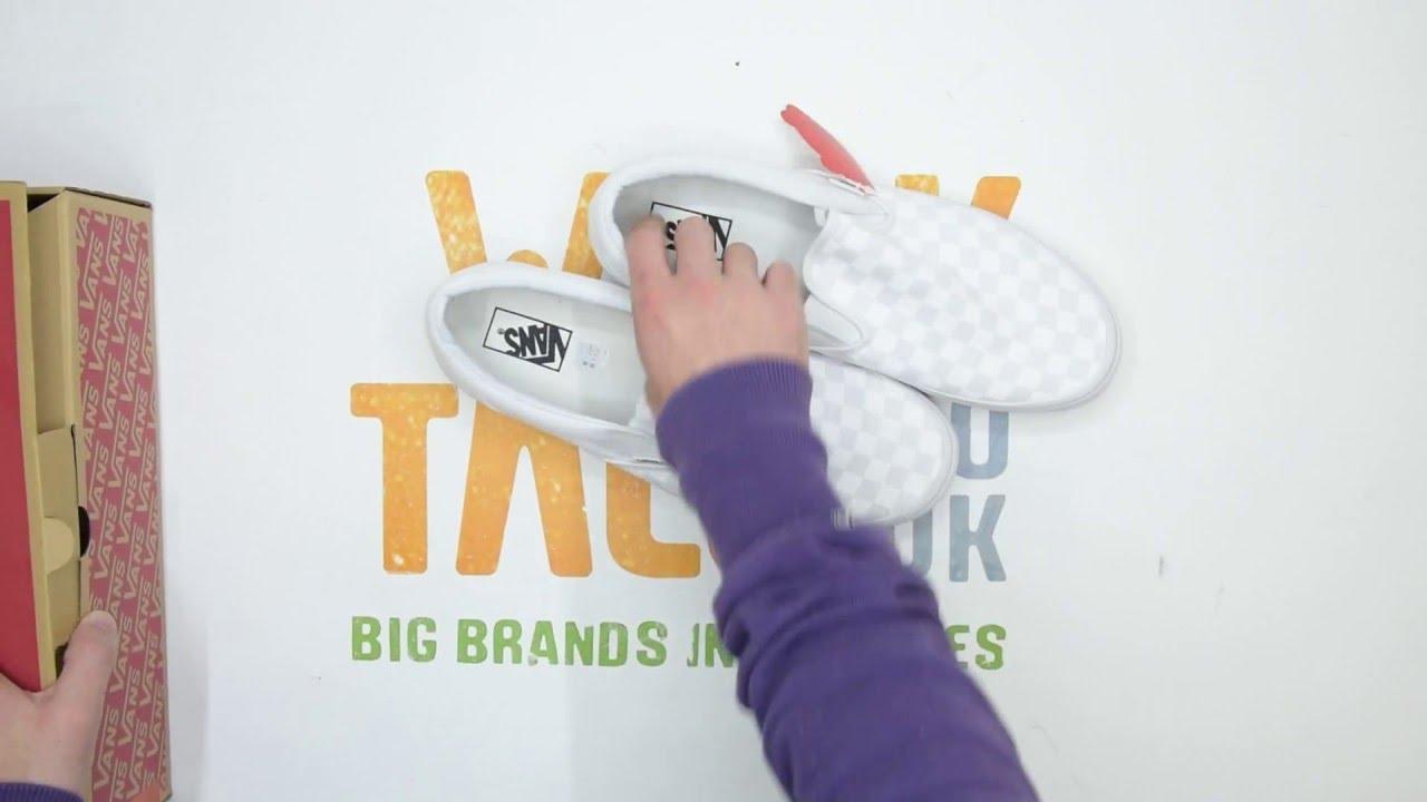 8aaa594b51 Vans Classic Slip-On Checkerboard - White   White - Walktall ...