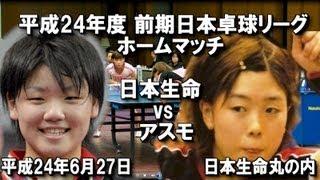 平成24年度 前期日本卓球リーグ ホームマッチ 日本生命 vs アスモ 日本...