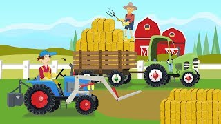Tractor with straw loader - Farmers and collecting straw bales  Video for Babies and Kids - Traktory