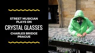 Amazing Street Artistic Music   Water Crystal Glass Musician   Prague