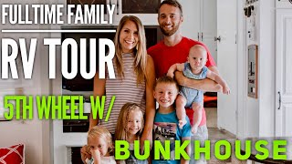 RV TOUR Fulltime Family of 6 with HUGE BUNKHOUSE // Our Tiny Home on Wheels // Renovated RV