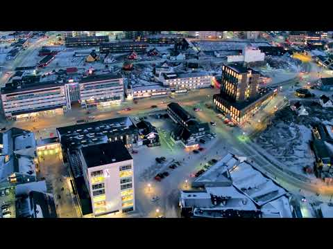 Nuuk by night, drone footage of Nuuk Greenland
