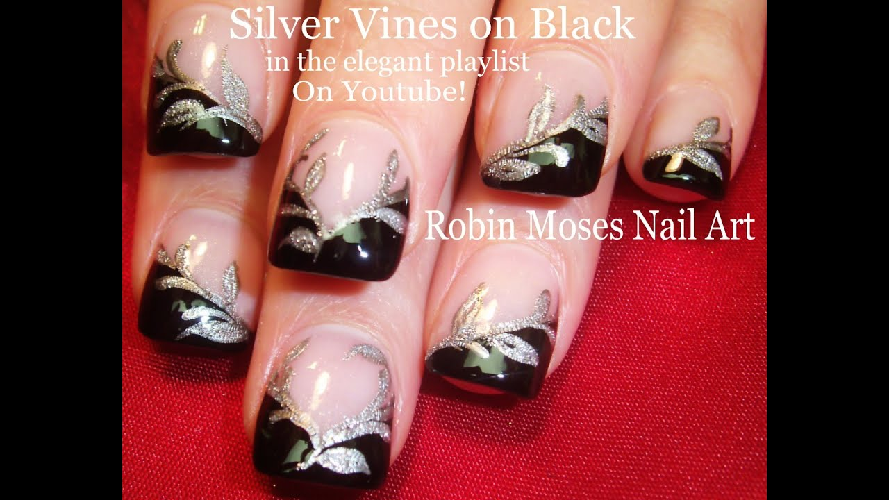 Nail Art Tutorial | Black & Silver Nails | Easy Glitter Nail design - Nail Art Tutorial Black & Silver Nails Easy Glitter Nail Design