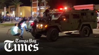 Looting, fires and tear gas in Tampa after sundown