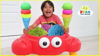 Download Ryan Pretend Play Selling Ice Cream Sand Toy from Crab Shop!!! Mp3 and Videos