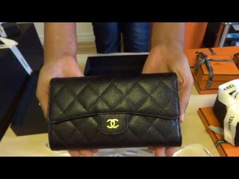 Chanel wallet caviar black leather gold hardware unboxing reveal  2014