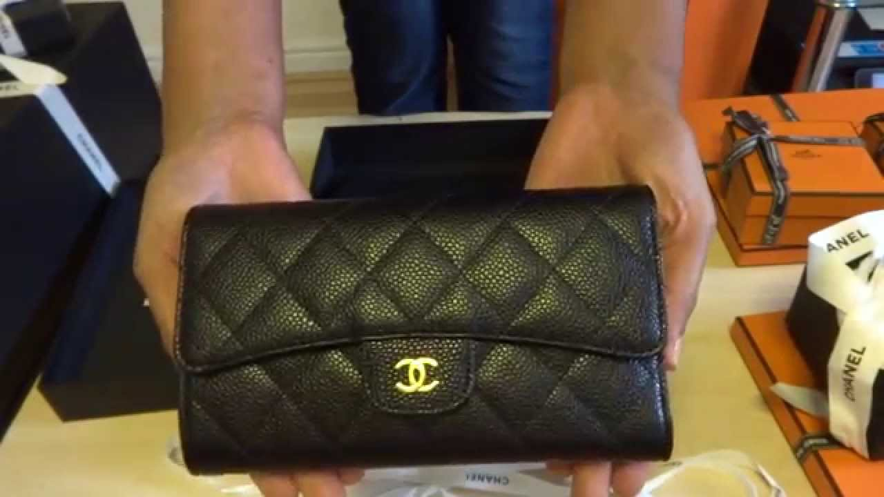 d53937998d91 Chanel wallet caviar black leather gold hardware unboxing reveal 2014