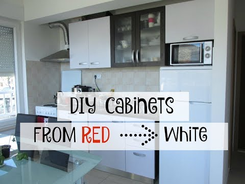 DIY Red to White Cabinets with Contact Paper |Bethany Marie