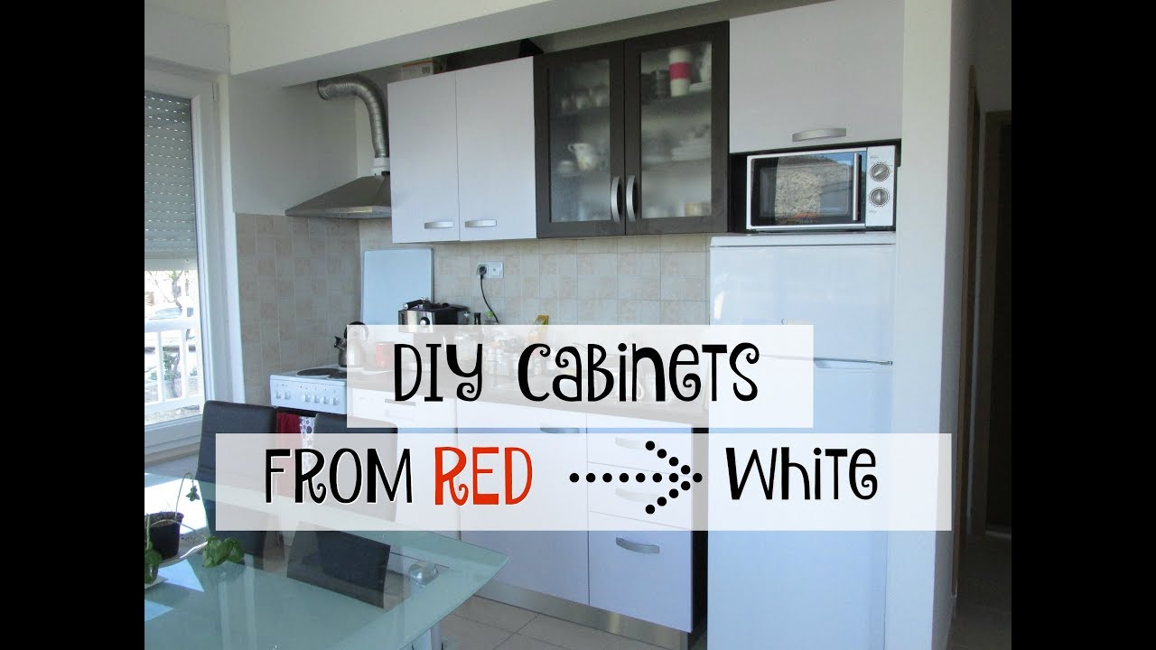 Diy Red To White Cabinets With Contact Paper Bethany Marie Youtube