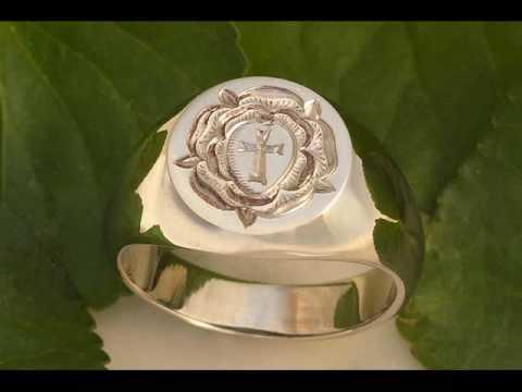 Rosicrucian Rose Hand Engraved Gold Signet Ring Youtube