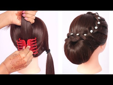 new latest trending hairstyle with clutcher || updo hairstyles || new hairstyle || braided hairstyle thumbnail