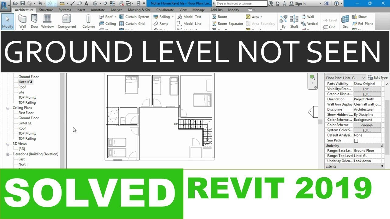 Ground Bottom Floor Not Visible On Top Level How To View All Levels Revit 2019 Solved Youtube