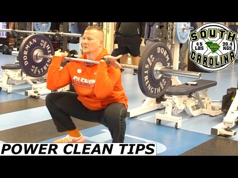 POWER CLEAN TECHNIQUE TIPS ADAM SMOTHERMAN CLEMSON UNIVERSITY TIGERS STRENGTH DEMO