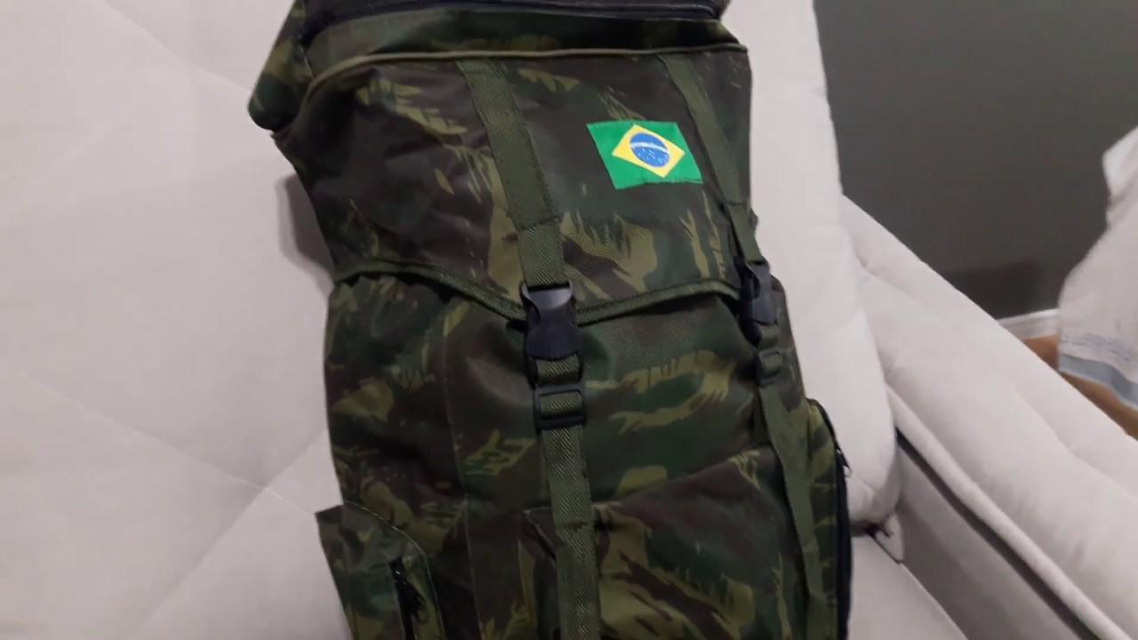 Mochila Camping Tática Camuflada 80 Litros Boa E Barata - YouTube f554b9f5c9f28