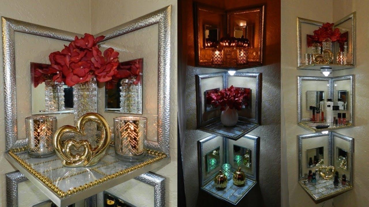 Dollar Tree DIY Lighted Corner Shelves | Glam Dollar Tree ...
