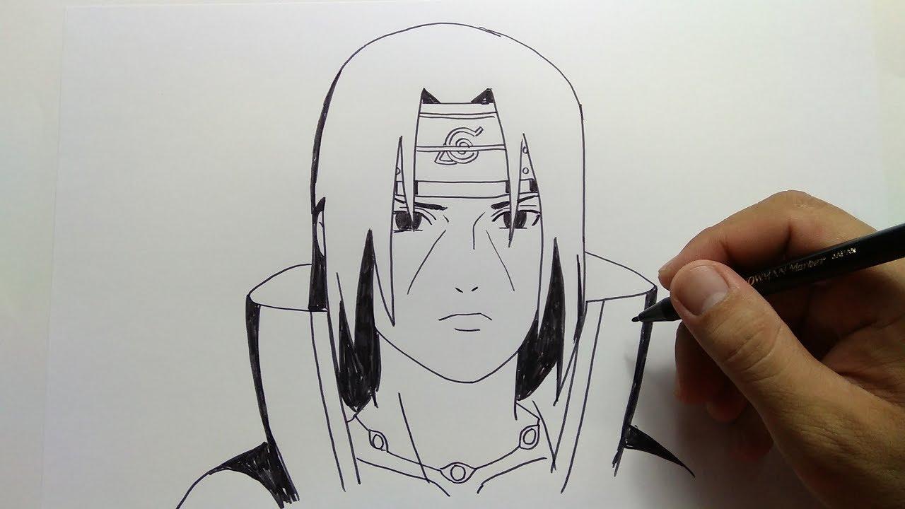 cara menggambar itachi dari anime naruto - YouTube