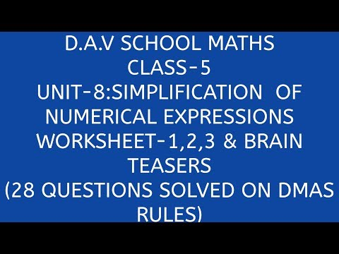 D.A.V. Math||DMAS RULES 1||Class-5