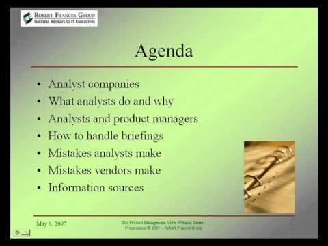 Product Management View Webinar Series - Working With Industry Analysts: The Insider's View