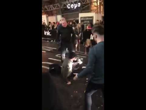 Doorman Bouncer Knocks Out Two Guys in Fight Outside Ink Nightclub Nottingham FULL VERSION
