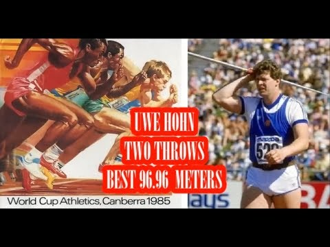 Uwe Hohn 96.96 meters JAVELIN (DDR) 1985 World Cup Canberra.
