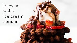 Brownie Waffle Ice Cream Sundae {vegan & grain-free}
