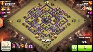Clash of Clan war: TH7 vs TH9 2 stars