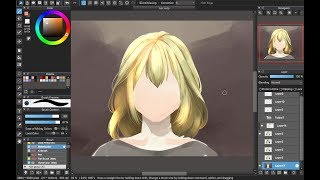 [Medibang Paint Pro desktop version how to] Semi realistic Yellow hair tutorial