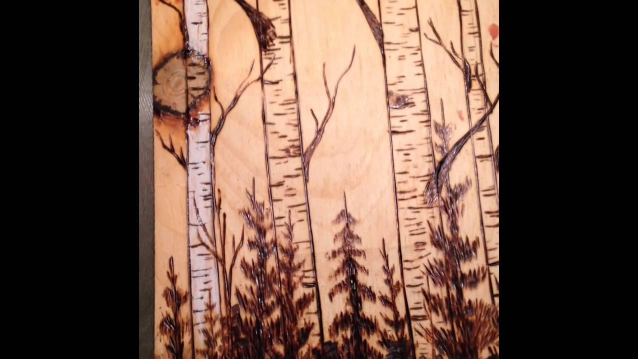 Wood Burning Art Birch Trees
