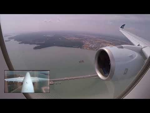 RARE! Airbus A350-1000 Strong Crosswind-Landing in Singapore,BRAND NEW, Cathay Pacific!!! [AirClips]