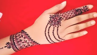 Latest Easy Ornamental Jewellery Style Back Hand Mehndi Designs for Beginners