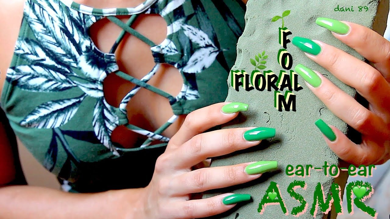 All Green Asmr Playing With Floral Foam So Satisfying Poking Tapping Breaking Scratching