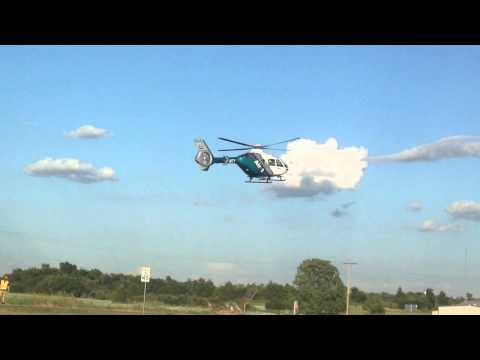 ETMC helicopter airlifting one from Kemp, TX, MVA