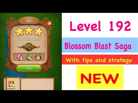 Blossom Blast Saga Level 192 NEW No BoostsTips and Strategy Gameplay Walkthrough