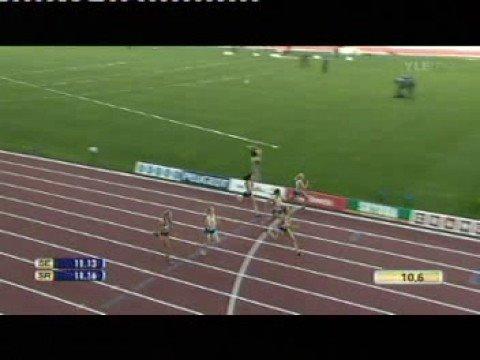 Naisten 100 metriä Suomi - Ruotsi maaottelu 2008 - YouTube
