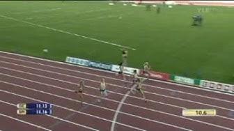 Naisten 100 metriä Suomi - Ruotsi maaottelu 2008