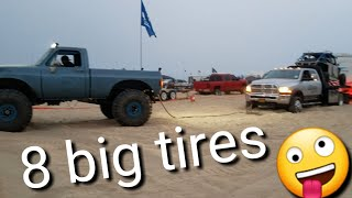 Big foot truck Square Body K10 and Blazer Pismo Beach Dune Trailer stuck in the sand dunes