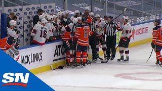 Brady Tkachuk Hits Adam Larsson As Time Expires Causing Huge Scrum Between Senators and Oilers