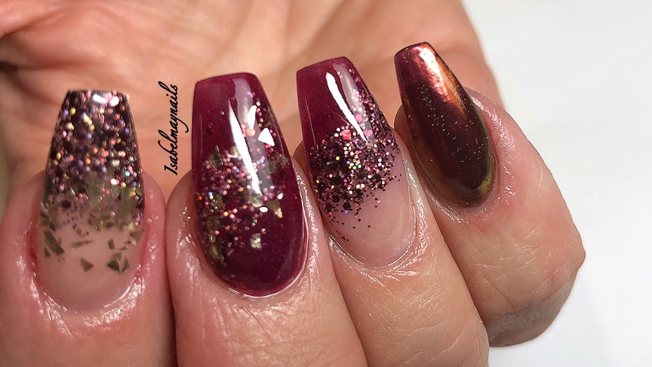 Acrylic Nails | Burgundy Gold | Not polish
