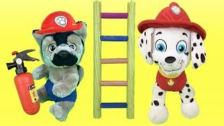 Juguetes paw patrol español:bebe Chase aprende a ser bombero con cachorro Marshall patrulla canina