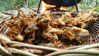 Fried Yummy Frogs In The Forest For Dinner Eating Delicious