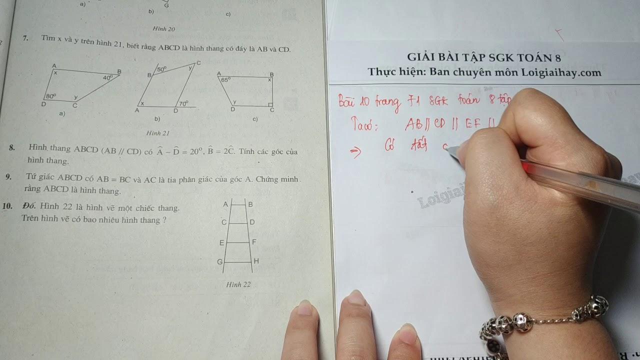 Giải bài 10 trang 71 SGK toán 8 tập 1