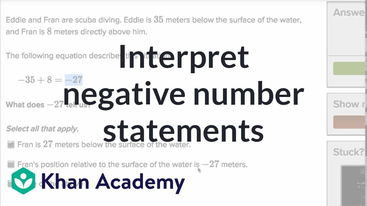 Interpreting negative number statements | 7th grade | Khan Academy ...