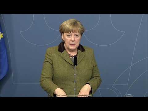 Presskonferens med statsminister Stefan Löfven och Tysklands förbundskansler Angela Merkel
