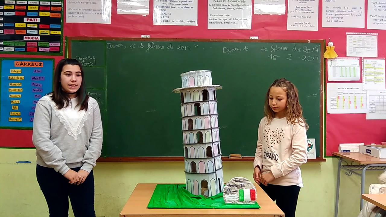 foto de Presentació maqueta Torre de Pisa Naroa i Núria YouTube